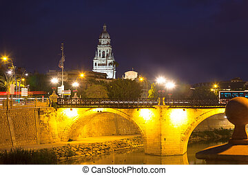 Puente Viejo in night Murcia, Spain