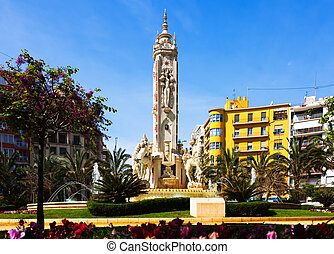 Luceros Square. Alicante - Luceros Square with fontain in...