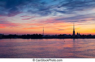 View of St Petersburg in summer dawn - View of St Petersburg...
