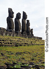 Moai- Easter Island, Chile - Moai statues of The Tahai...