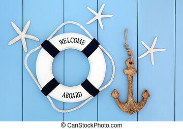 Nautical Abstract - Decorative lifebuoy, anchor and starfish...