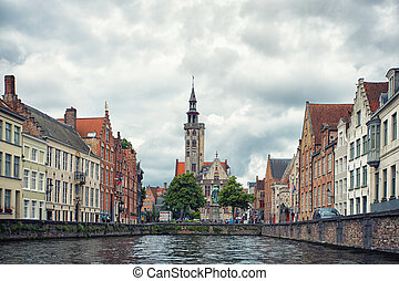 Bruges - Beautiful view of Bruges with channel and tower