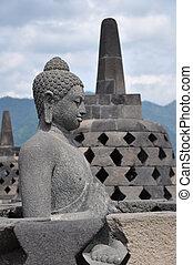 Borobudur Buddha - Buddha statue at Borobudur temple, Java,...