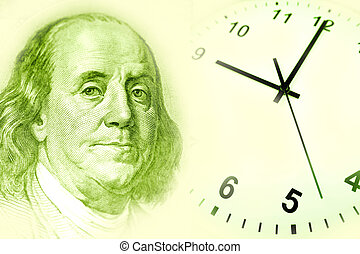Benjamin Franklin and clock Green tone