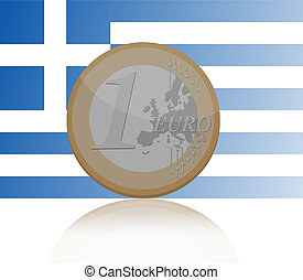 One Euro coin with Greece flag background - Vector...