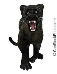 Black Panther - 3D digital render of a black panther,...