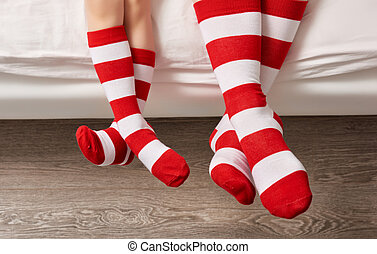 foot in the socks - sole of the feet of family