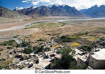 Karsha gompa - buddhist monastery in Zanskar valley - Ladakh...