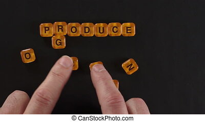 Letter Blocks Spell Organic Produce - A close up shot of a...