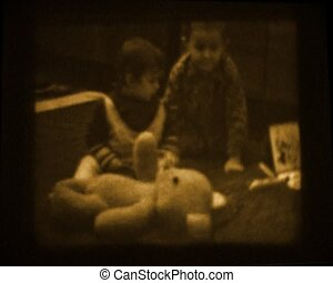 old home movie - little boys playing on real 8mm film