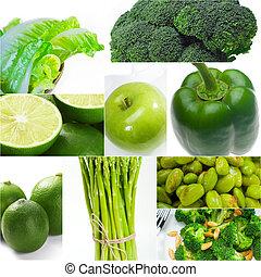 sano, cibo,  collage, verde, collezione