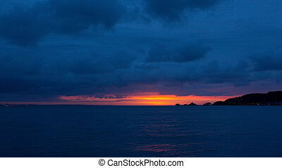 Gower sunrise over Mumbles - A golden sunrise throws the...