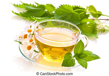Herbal tea with chamomile and  fresh mint leaves