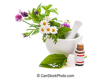 Healing herbs and amortar. Alternative medicine concept