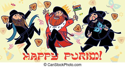 Funny Happy Purim greeting card. Vector illustration - Happy...