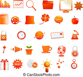 Orange icons - This image is a vector illustration and can...