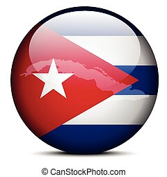 Map on flag button of Republic of Cuba - Vector Image - Map...