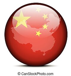 Map on flag button of People's Republic of China