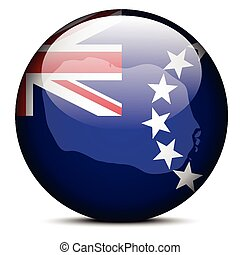 Map on flag button of Cook Islands - Vector Image - Map on...