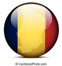 Map on flag button of Republic of Chad - Vector Image - Map...