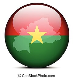 Map on flag button of Burkina Faso