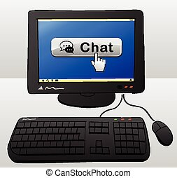 chat computer concept - drawing of computer with chat button...