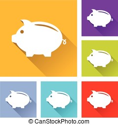 piggy bank icons - illustration of flat design set icons for...