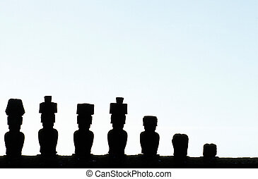 Moai- Easter Island, Chile - Moai statue with topknots...