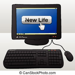 new life computer concept - drawing of computer with new...