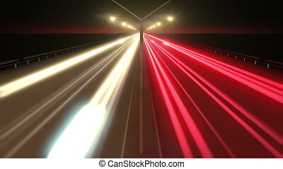 Beautiful animation of Highway Time Lapse Long Exposure. HD...