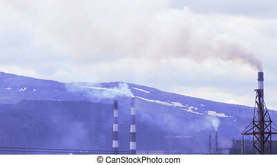 Air pollution in the North. Pipe mining and processing...