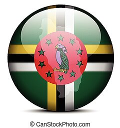 Map on flag button of Commonwealth of Dominica - Vector...