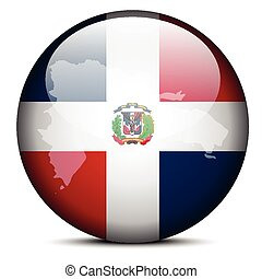 Map on flag button of Dominican Republic