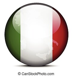 Map on flag button of Italian Republic, Italy