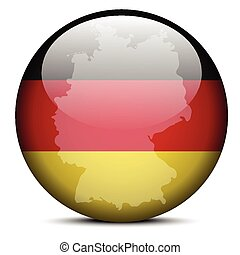 Map on flag button of Federal Republic of Germany - Vector...