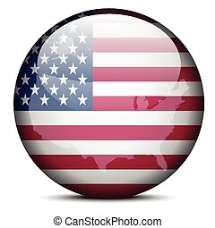 Map on flag button of United States of America