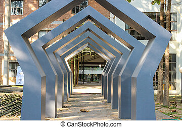 the design of modern archway in front of building