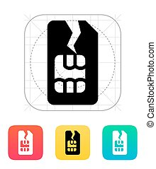 Damage SIM card icon. Vector illustration.
