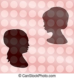 Two heads silhouettes on vintage po