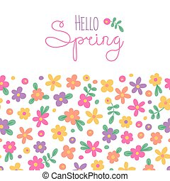 Sizon card Hello Spring with cute flowers. Vector...
