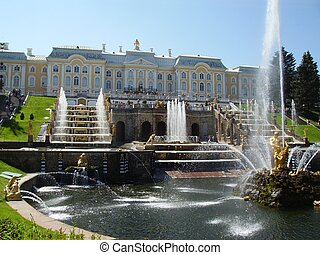 Petergof - photo of the beautiful palace with park and...
