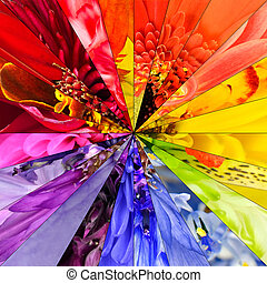 Rainbow Flower Center Collage Geometric Pattern - Rainbow...