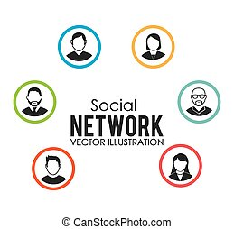Social network design, vector illustration.