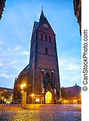 Marktkirche in Hanover, Germany at night