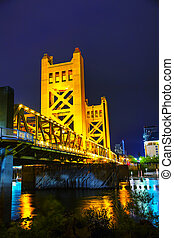 Golden Gates drawbridge in Sacramento at the night time