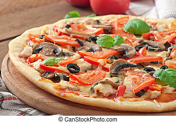 pizza with chicken - Appetizing pizza with chicken,...