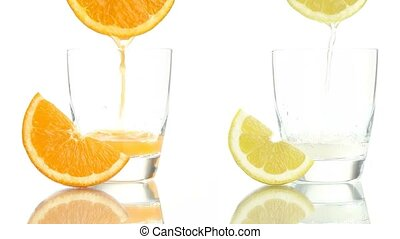 Juice orange lemon poured glass - Juice orange lemon poured...