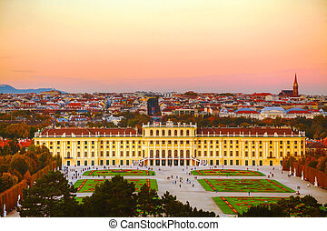 Schonbrunn palace at sunset