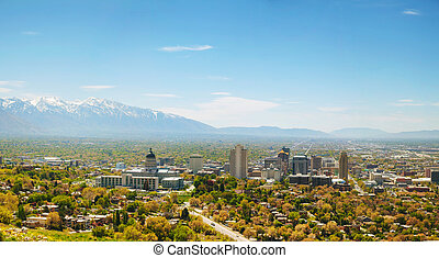 Salt Lake City overview - Salt Lake City panoramic overview...