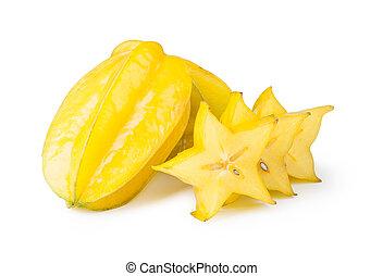 star fruit carambola - Yellow Carambola isolated on white...